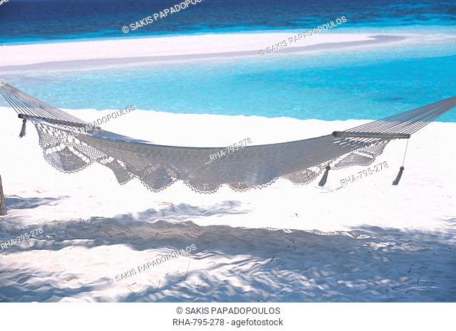 Hammock on the beach, Maldives, Indian Ocean, Asia