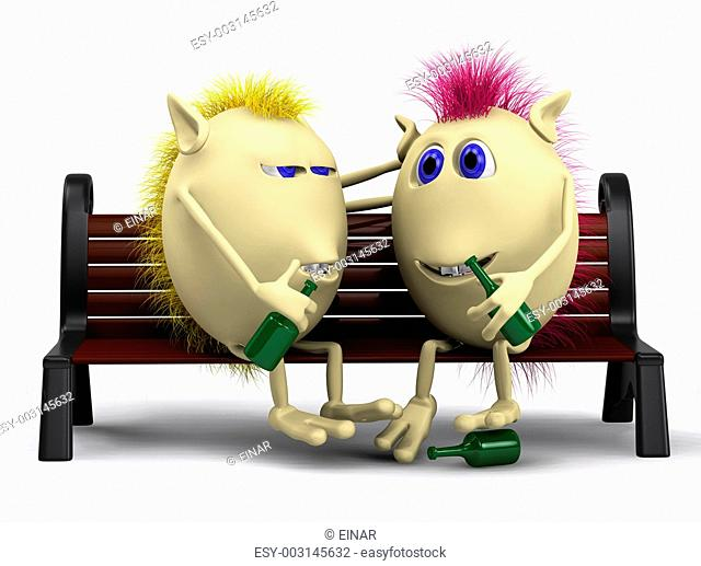 Look on drunkard puppets sitting on bench