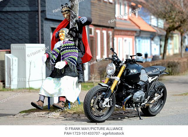 Motorcycling in the Harz mountains, Germany, near city of St. Andreasberg, 06.April 2018. Photo: Frank May | usage worldwide. - St