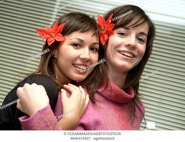 Young girls with flowers