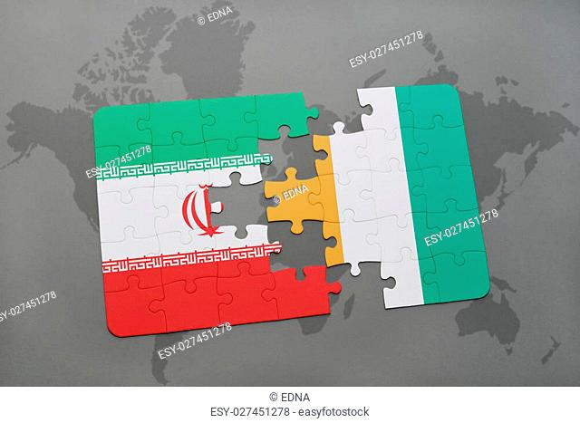 puzzle with the national flag of iran and cote divoire on a world map background. 3D illustration