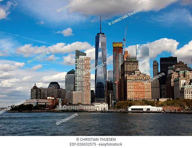 World Trade Center in New York Freedom Tower One with Skyline and Water