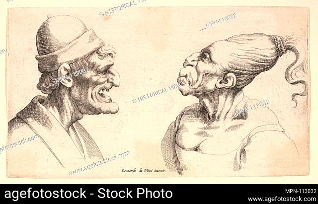 Two deformed heads. Etcher: Wenceslaus Hollar (Bohemian, Prague 1607-1677 London); Artist: After Leonardo da Vinci (Italian