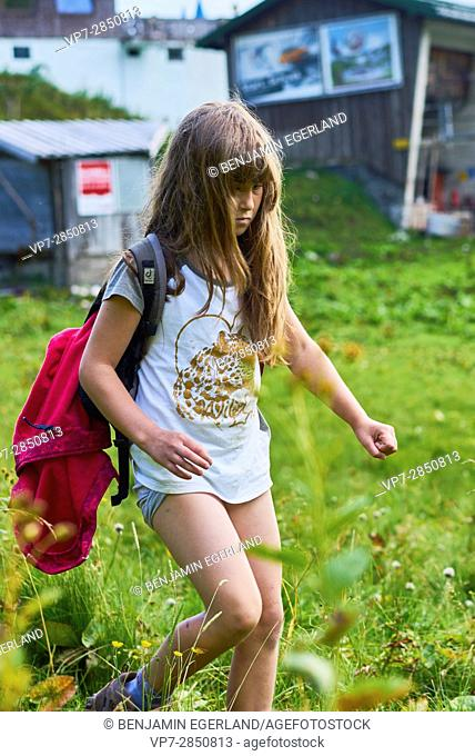 Young female child during hiking adventure