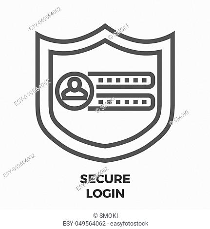 Secure Login Thin Line Vector Icon Isolated on the White Background