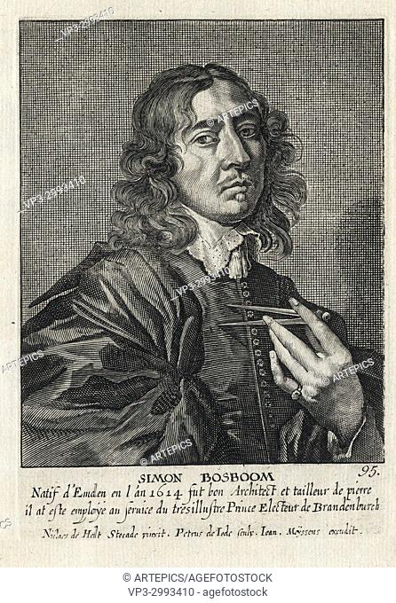 SIMON BOSBOOM - Woodcut portrait and short biography (old french language) - Engraving 17th century