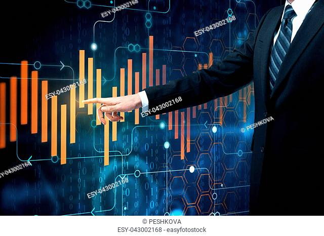 Businessman pointing at abstract forex chart. Economy concept. Double exposure