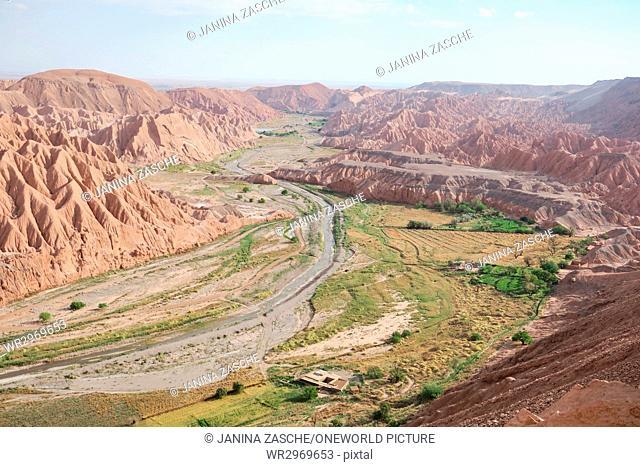 Chile, Regio de Antofagasta, San Pedro de Atacama, Small stream through the Atacama desert