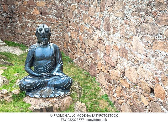 Meditating Buddha Statue, made of bronze. 19th Century, sitting stance, useful copyspace