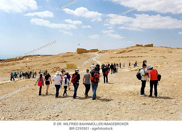 Tourists at the Jewish Masada Fortress, UNESCO World Heritage Site, West Bank, Israel, Middle, East