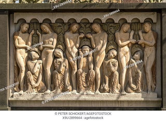relief at Platanenhain park, Mathildenhöhe in Darmstadt Hesse, Germany, Europe