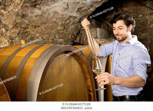 Man in wine cellar controlling wine