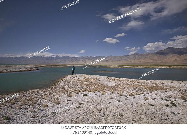 Salt deposits alongside Karakul Lake on the Pamir Highway, Gorno Badakhshan, Tajikistan