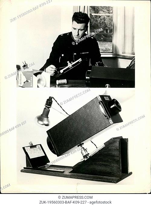 Mar. 03, 1956 - Cop's Invention spotlights forgeries.: A British policeman has invented a forgery detector that does away with the expensive method of...