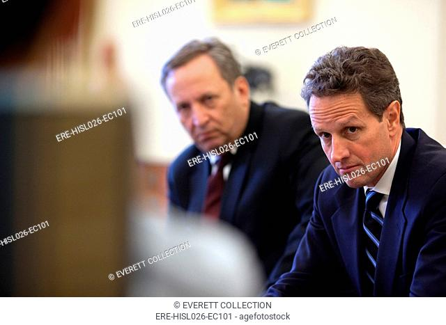 Treasury Secretary Timothy Geithner and National Economic Council Director Larry Summers meet with President Obama. Feb. 11 2009 BSWH-2011-8-116