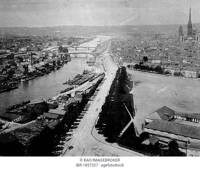 Early autotype of Rouen, Seine-Maritime, France, historical photo, 1884