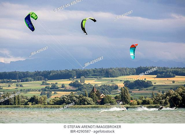 Kiters during a storm on Lake Constance between the island Reichenau and Allensbach, Lake Constance, Germany