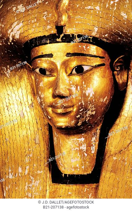 Detail of coffin of queen Ahhotep, 17th dynasty. Egyptian Museum. Egypt