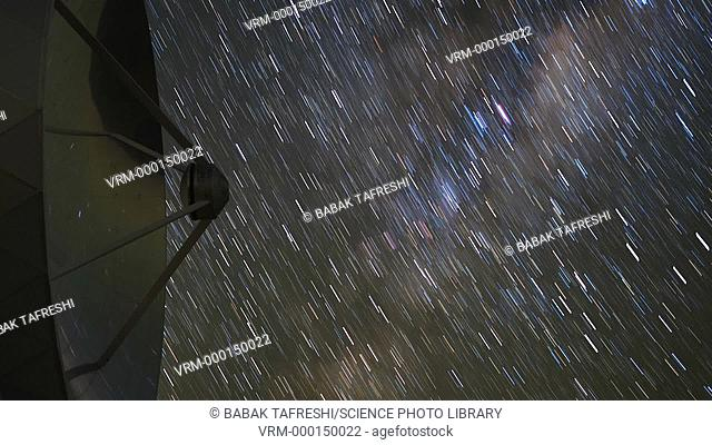 Star trails reflected in a radio telescope dish. Time-lapse footage of star trails of the Milky Way reflected in the dish of the Swedish-ESO sub-millimetre...