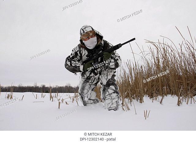 Varmint Hunter In Snow Camo On Prairies