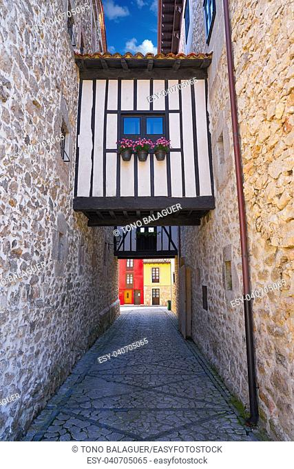 Llanes village facades in Asturias of Spain