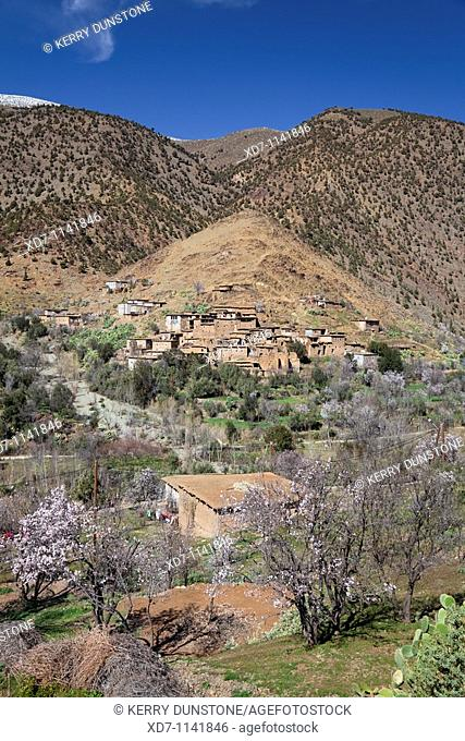 Morocco High Atlas Mountains Tin Mal Village with Oued Nfiss River Valley