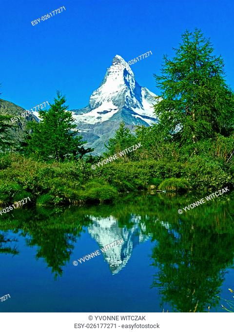 matterhorn with reflection in a lake