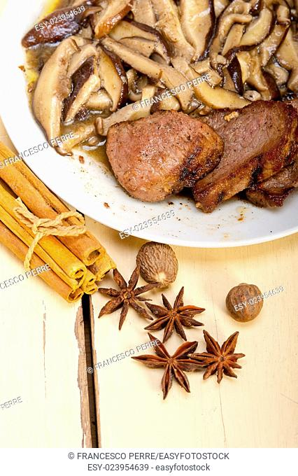 venison deer game filet tenderloin and fresh wild mushrooms