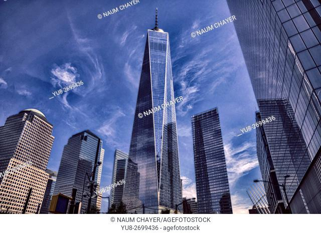 Dramatic image of One World Trade Center, New York, New York State, Lower Manhattan, USA