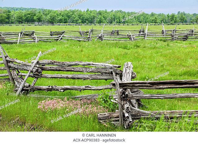 Cedar split-rail fence, Manitoulin Island, Ontario, Canada