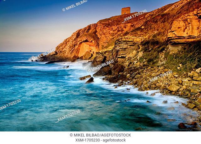 Santa Justa shrine  Santa Justa or Ubiarco beach  Ubiarco, Santillana del Mar, Cantabria, Spain