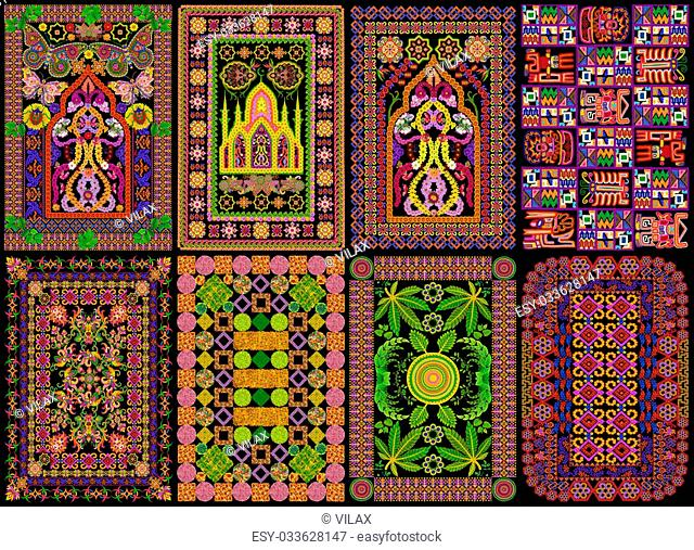 Rugs for a islamic prayers in Persian style set. Abstract handmade collage from summer flowers isolated on black. All full size images you can finde in my...