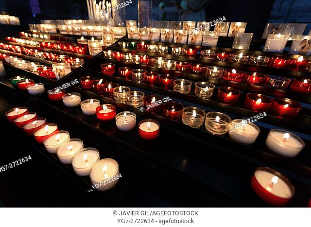 Candles in the cathedral of Reims, Marne, Champagne-Ardenne, France