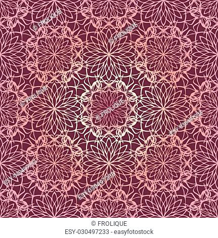 Elegant seamless pattern with Mandala and floral elements