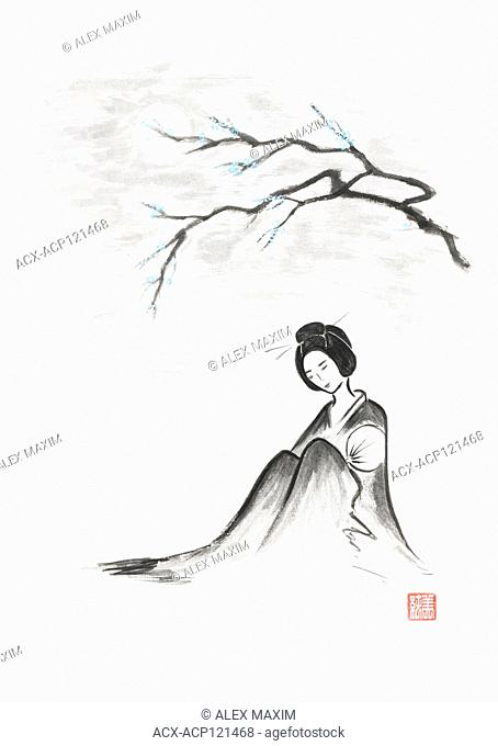 Beautiful thoughtful geisha sitting under sakura branch in the moonlight artistic oriental style illustration, Japanese Zen Sumi-e ink painting on white rice...