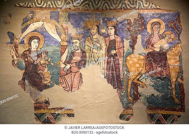 Mural paintings. Iglesia de la Asunción de María en Navasa (Huesca), Diocesan Museum of Jaca, Museo Diocesano de Jaca, Jaca, Huesca province, Aragón, Spain