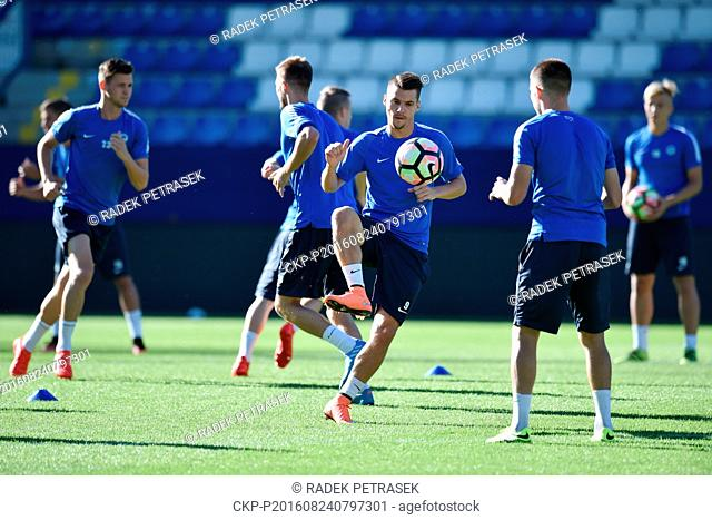 Jan Navratil (centre) of Liberec during a training prior to the fourth qualifying round of the Europa League match Slovan Liberec vs AEK Larnaka in Liberec
