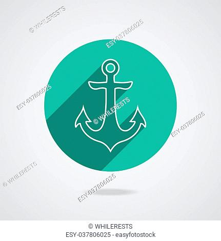 Nautical white metal flat icon anchor illustration with long shadow isolated on white background. Retro button with anchors silhouette