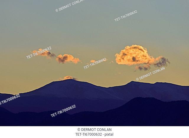USA, Colorado, Denver, Mountain landscape at sunset