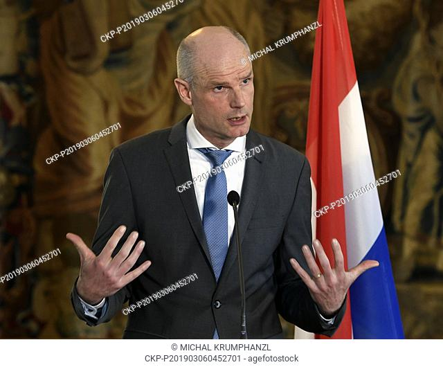 Dutch Foreign Minister Stef Blok speaks during a press conference after meeting with his Czech counterpart Tomas Petricek (CSSD; not seen) on bilateral...