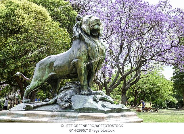 Argentina, Buenos Aires, Bosques de Palermo, Parque 3 de Febrero, park, sculpture, Lion with Prey, Nicolas Auguste Cain, copy, reproduction, Hispanic
