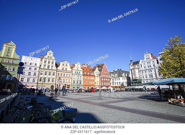 WROCLAW POLAND ON SEPTEMBER 29, 2018: Solny square with the flower shops in Wroclaw Poland