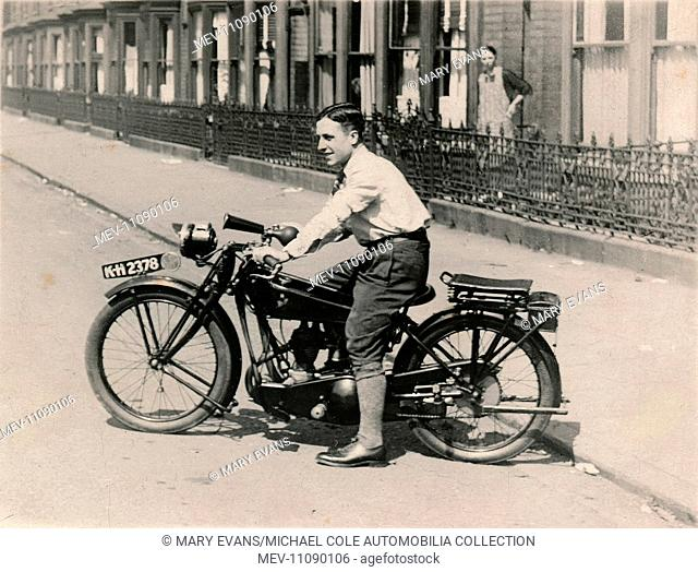 Young man on a 1921/22 Rex-Acme JAP engined motorcycle in the road in the 1920s