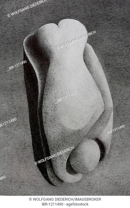 Pencil drawing, torso, body study, by the artist Gerhard Kraus, Kriftel, Germany