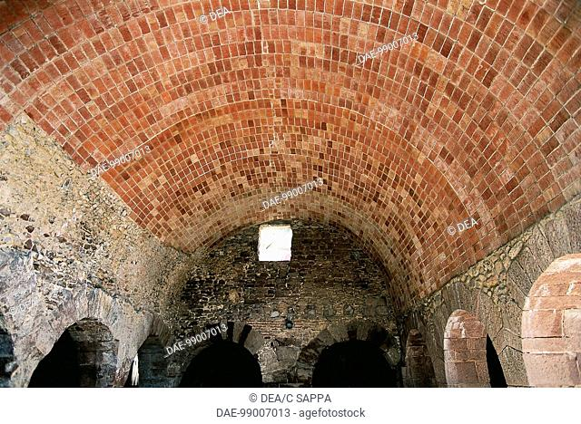 Spain - Catalonia - Caldas de Montbuy, Barcelona. Roman baths. Brick vault of pool