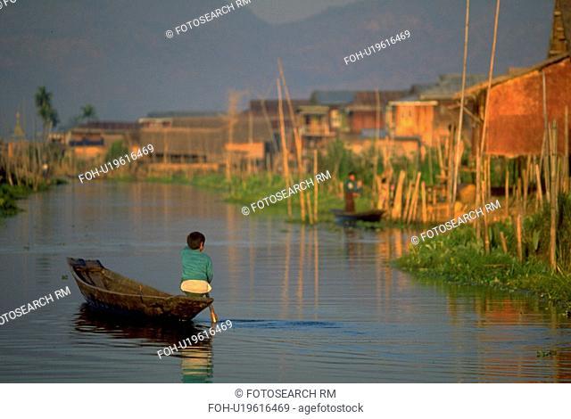 lake, rows, inle, village, floating, boy