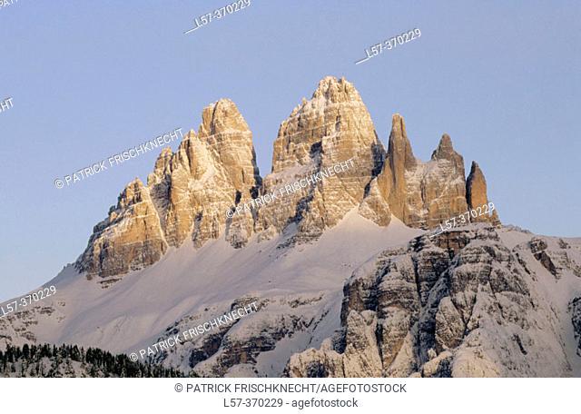Drei Zinnen, Three Chimneys. View from Monte Agudo. Dolomites. South Tirol. Italy