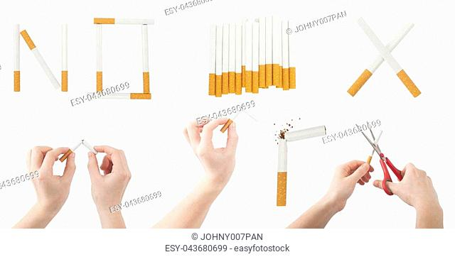 set of broken cigarette and quit or no smoking concept