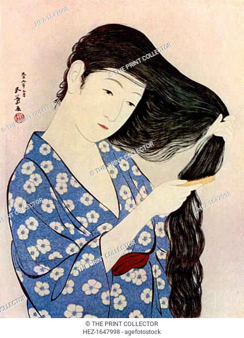 A Japanese woman combing her hair, 1920 (1930). From Apollo magazine, volume XII, no 71 (November 1930)