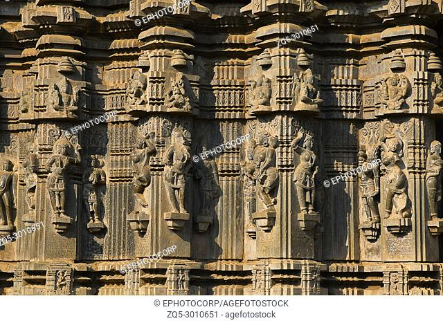 PLACE: Khidrapur, Dist. Kolhapur, Maharashtra State, India. The exterior has carvings of Gods, male - female artists in various poses